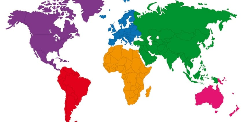 Colorful map of the whole world.