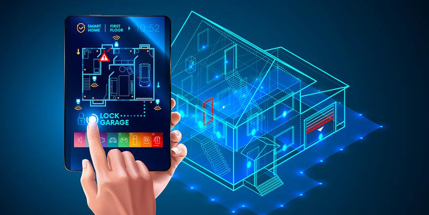 Person designing the interior of a home structure on a tablet.